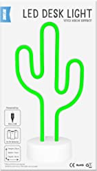 Shot2go Cactus LED Neon Effect Green Desk Light - Powered by Micro USB or 3xAA Batteries. Size 290x150x100mm