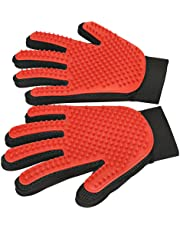 [Upgrade Version] Pet Grooming Glove - Enhanced Five Finger Design - Gentle Deshedding Brush Glove - Efficient Pet Hair Remover Mitt for Dogs, Cats & Horses with Long & Short Fur (1 Pair (Red) - Upgrade Version)