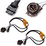 iJDMTOY (2) Hyper Flash/Bulb Out Error Fix Wiring Adapters Compatible With 3157 3057 3155 3357 3457 4157 LED Bulbs Turn…