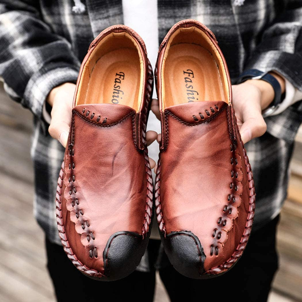 Spring New Casual Shoes, Large Size Leather Men's Shoes Hand-Stitched Business dad Shoes reddishbrown