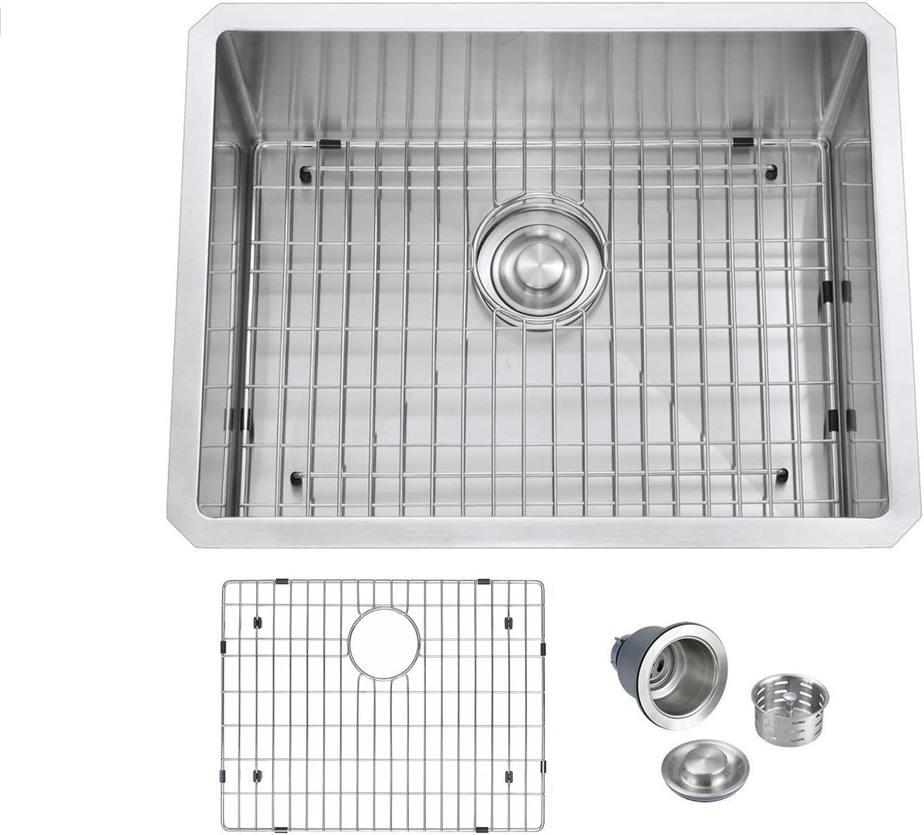 BILLION 23 x18 x10 Inch Undermount Single Bowl T304 Stainless Steel Kitchen Sink With Bottom Grid Drainer, 16 Gauge Thick With 10 Inch Deep Bowl