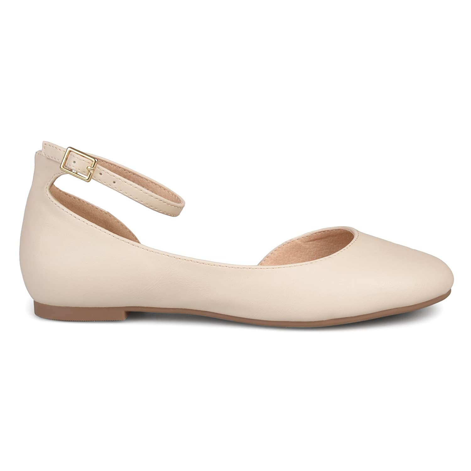 Brinley Co Womens ARO Faux Leather Wide Width Ankle Strap Round Toe D'Orsay Flats B074WFZ1LP 6 B(M) US|Ivory