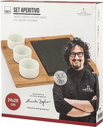 H/&H Lusso della semplicit/à Paletta Forata Legno Alessandro Borghese M//G Utensili da Cucina Tavola Marrone