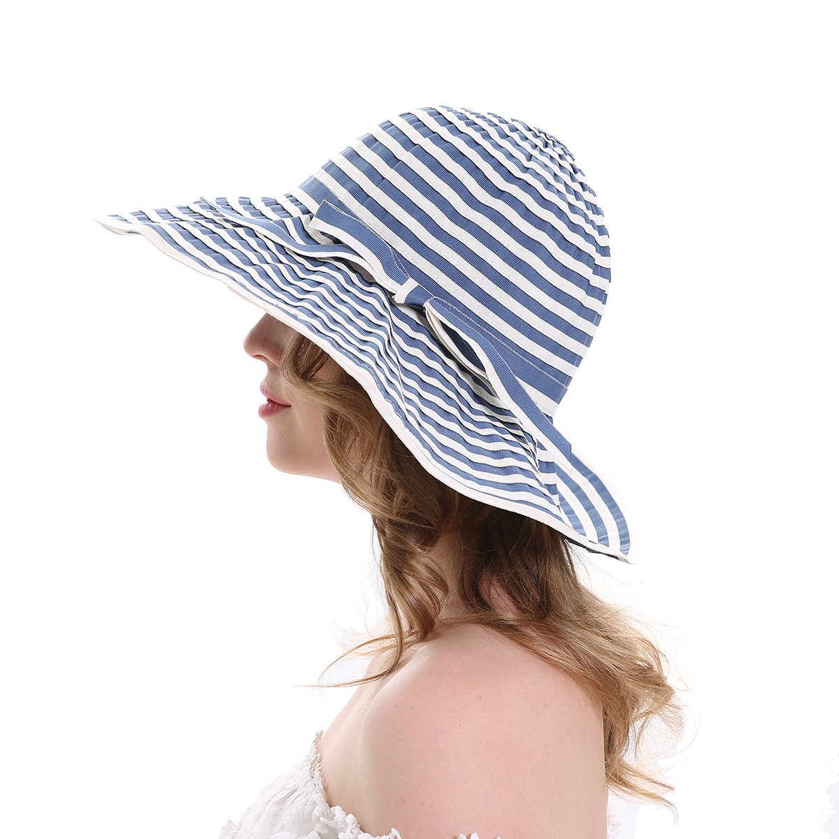 MEEFUR Womens Summer Lightweight Sun Hats Breathable Fabric UPF 50+ Beach Hat Stripes Foldable Wide Brim Narrow Bowknot Cap Floppy Blue