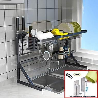 Dish Drainer Rack Holder Black Stainless Steel Kitchen Rack Sink Sink Dish Rack Drain Bowl Rack Dish Rack Kitchen Supplies Storage Rack,Black