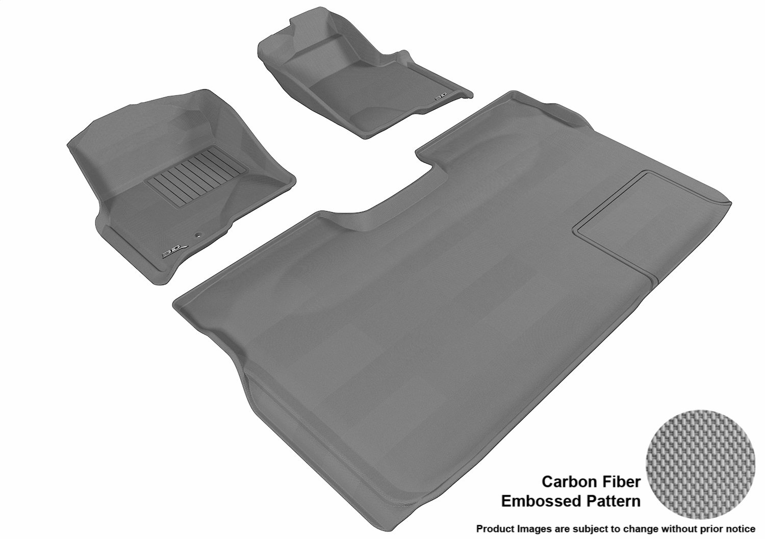 Gray L1FR06701501 3D MAXpider Complete Set Custom Fit All-Weather Floor Mat for Select Ford F-150 Models Kagu Rubber