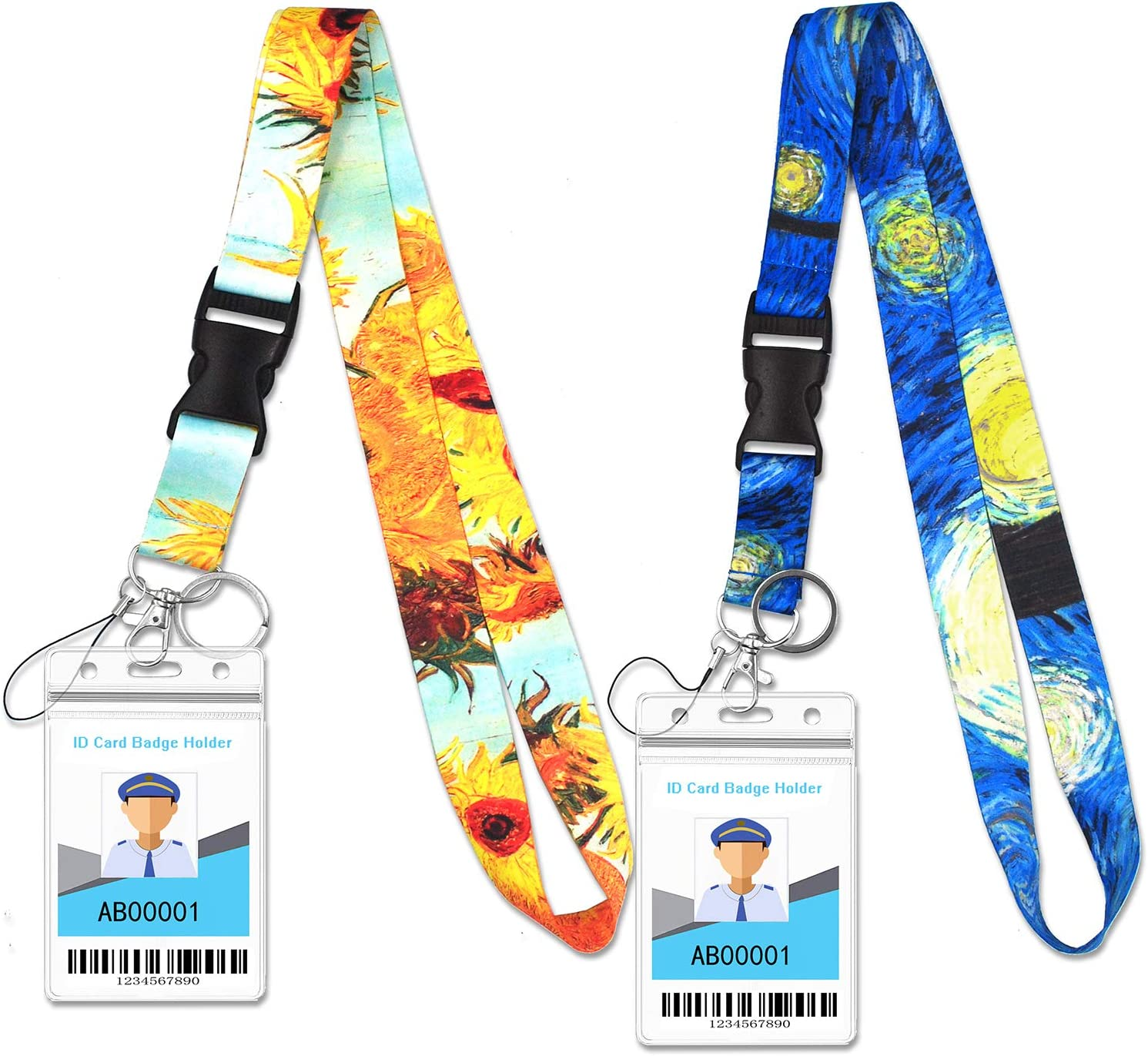 Cruise Lanyard with Waterproof ID Key Card Badge Holder Clip Essential Cruise Ship Accessories 2 Pack (Blue + Orange)