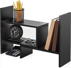 FITUEYES Wood Adjustable Display Shelf, Desktop Storage Organizer Rack Corner Bookshelf for Office and Home DT306801WB