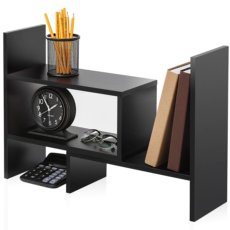 FITUEYES Wood Adjustable Display Shelf Desktop Organizer Office Storage Rack Free Style Corner Bookcase DT306801WB