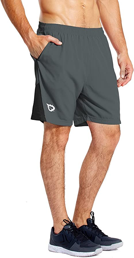 Maroon,Quick Dr Mens Running Shorts Quick Dry Gym Training Shorts with Pockets