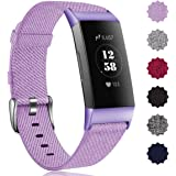 Maledan Compatible with Fitbit Charge 3 Bands for Women Men, Breathable Woven Fabric Replacement Accessory Strap Compatible with Fitbit Charge 3 and Charge 3 SE Fitness Activity Tracker, Large Small