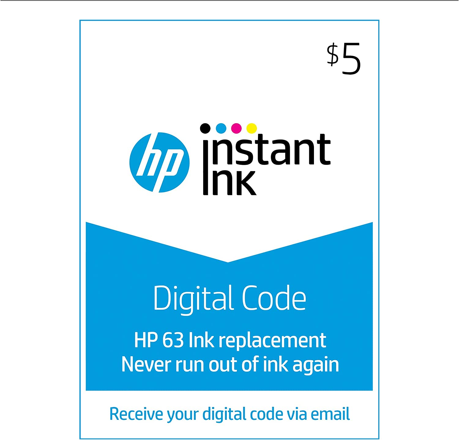 HP 63 Instant Ink $5 Prepaid Code for HP Ink Delivery Service: use to enroll in HP Instant Ink [Online Code] 71o-4AQPsPL