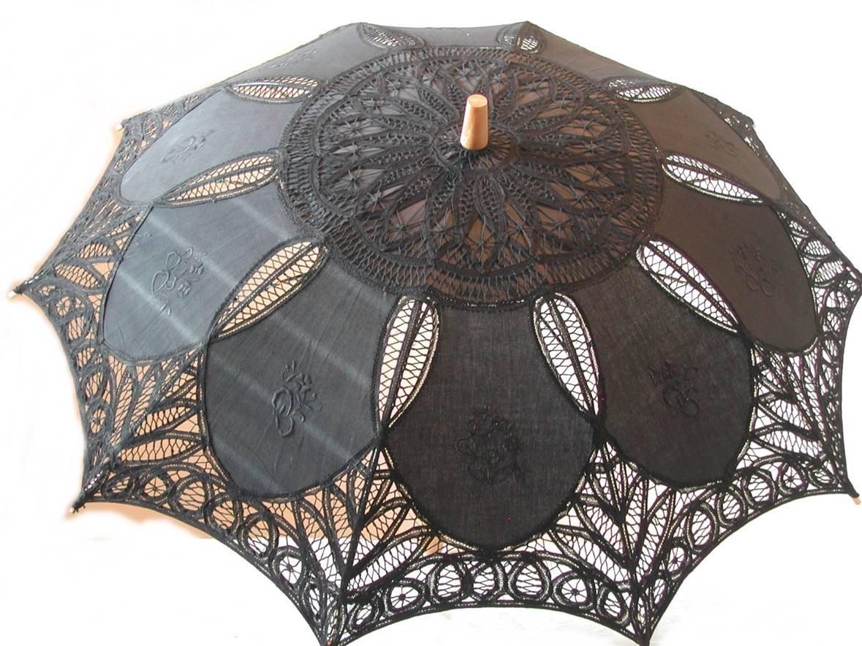Black Cotton Parasol by lace-parasols (Image #1)