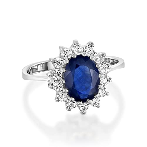 0be3d4cd3 Amazon.com: Diamond sapphire engagement rings for women 1 carat Blue ...