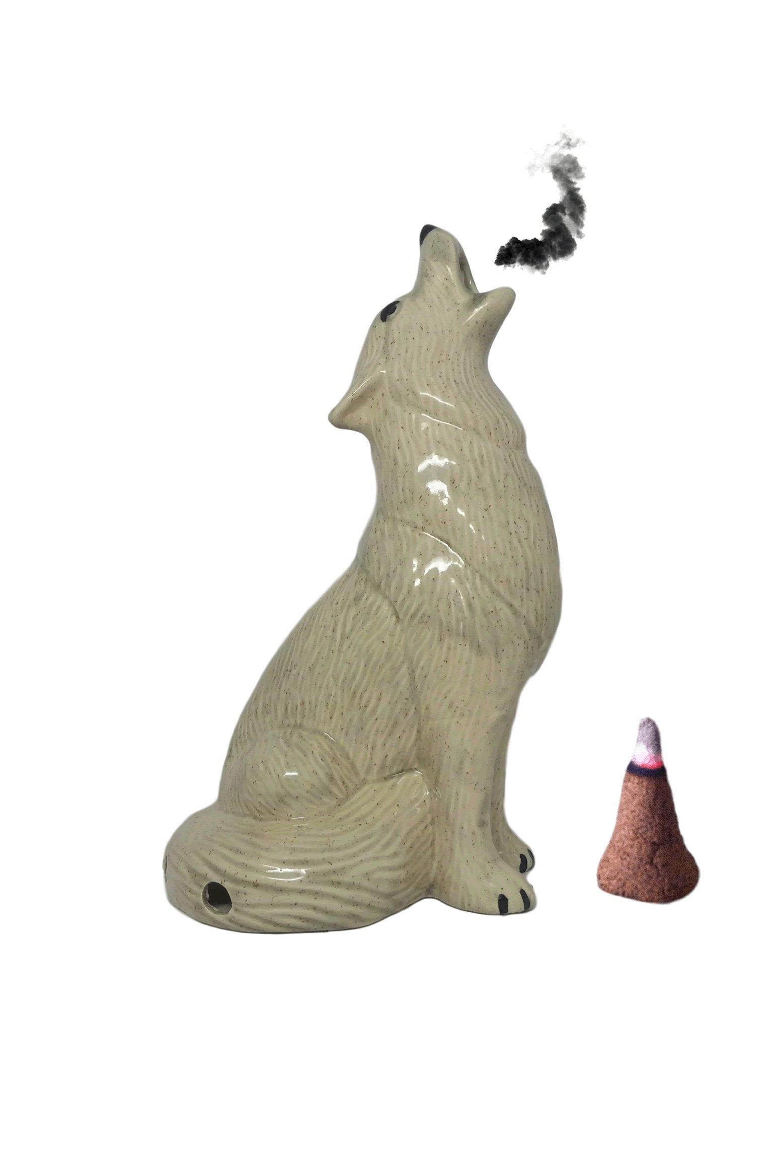 Mom's Majestics - 2018 Large Howling Wolf Smoking Cone Incense Burner (Grey Glaze, Large)