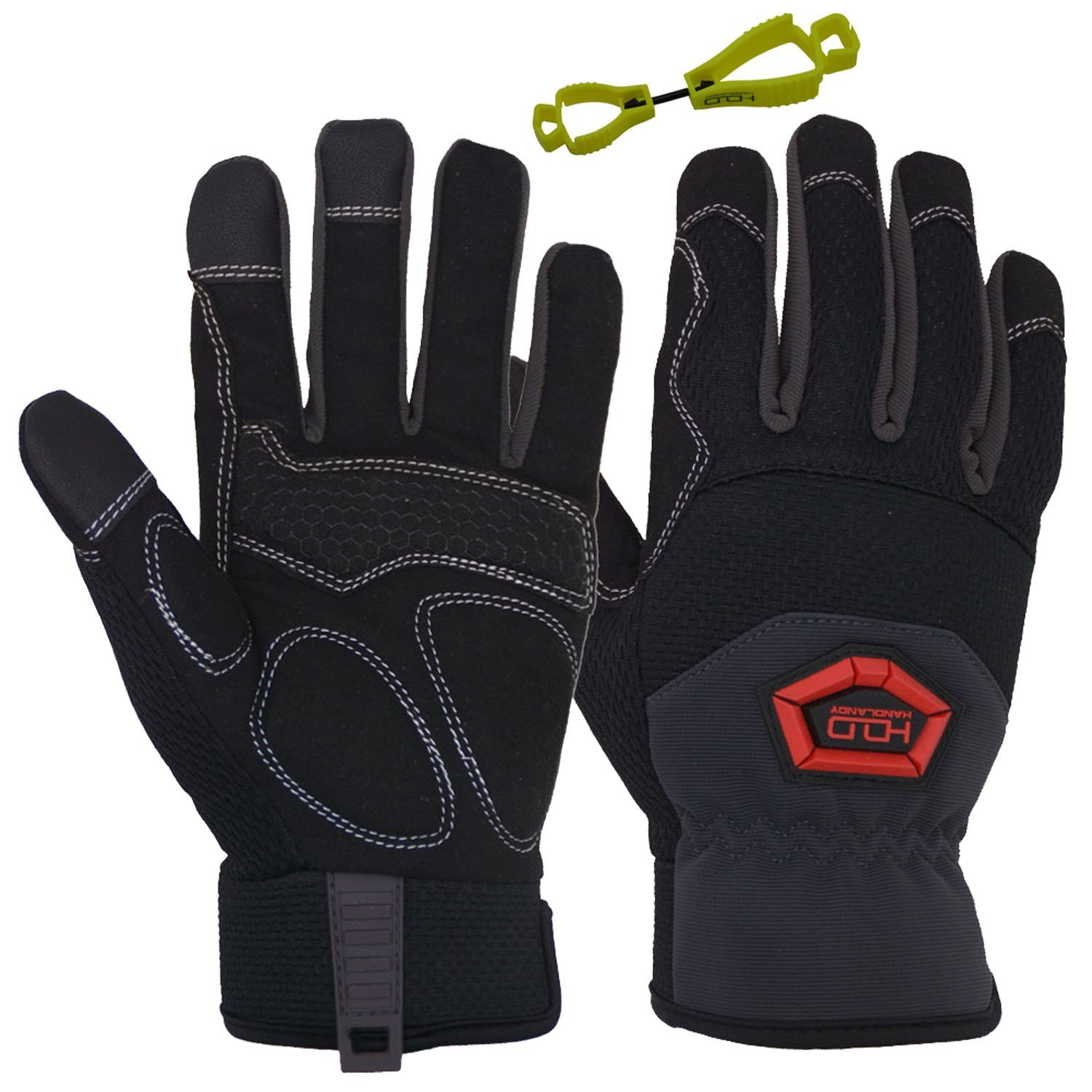 Handlandy Flex Grip Work Gloves Mens, Anti Vibration Impact Gloves- SBR Padded Palm, Improved Dexterity, Stretchable, Extra Large