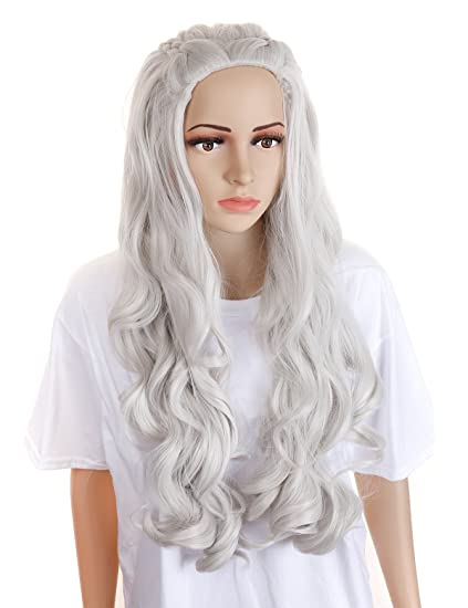 Morvally - Peluca larga rizada con cuatro trenzas para disfraz de Daenerys Targaryen de Halloween para