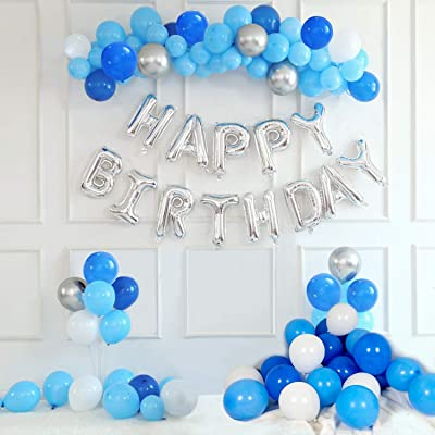 Gaishi 100Pcs Set Party Balloons with Silver Hanging Happy Birthday Balloons, Arch Garland for Wedding Birthday Party Decorations, White Blue Silver: Home Improvement