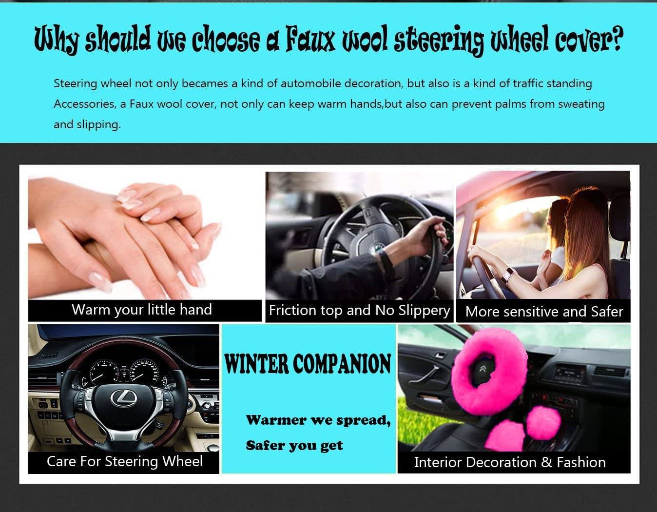 Rose red Younglingn Car Steering Wheel Cover Gear Shift Handbrake Fuzzy Cover 1 Set 3 Pcs Multi-colored with Winter Warm Pure Wool Fashion for Girl Women Ladies Universal Fit Most Car