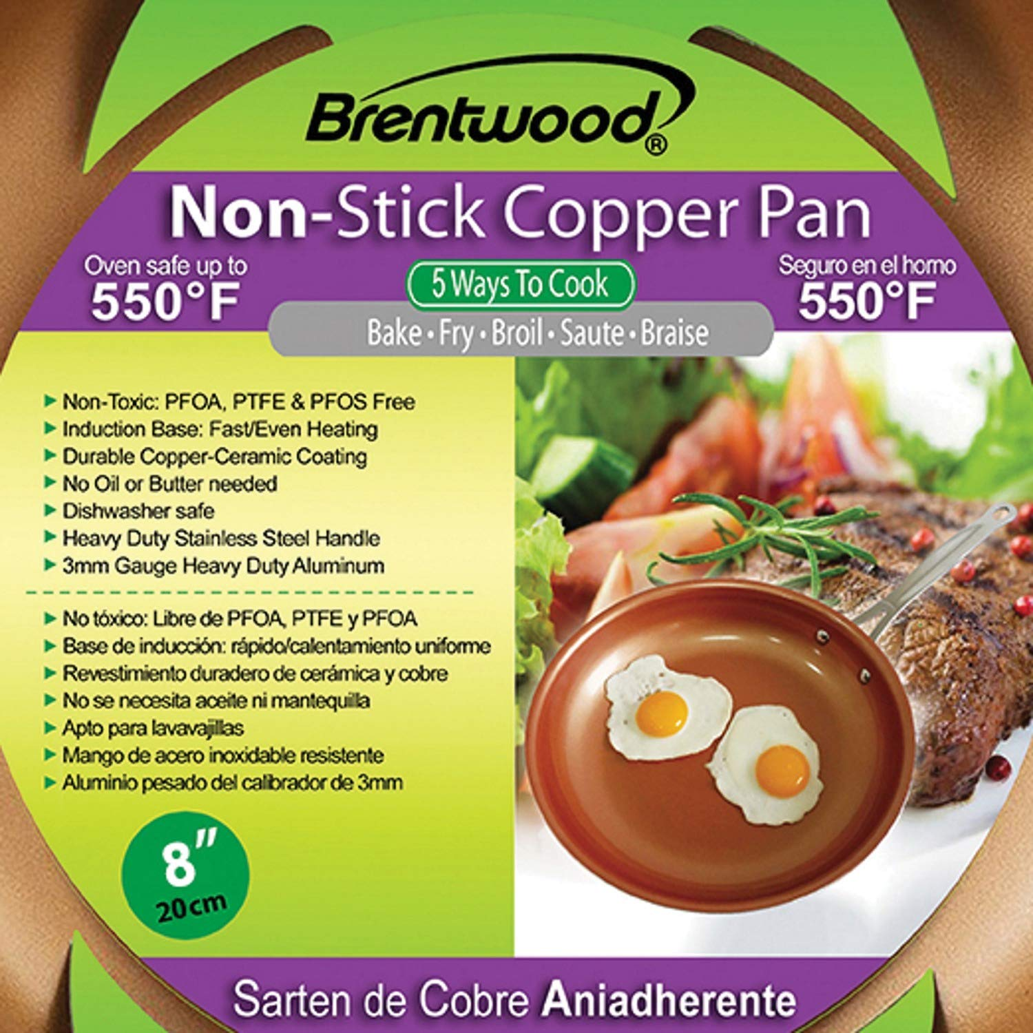 Brentwood BFP-320C 8-inch Non-Stick Induction Copper Frying Pan