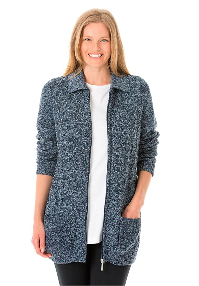 Woman Within Plus Size Marled Cable Knit Zip-Front Cardigan