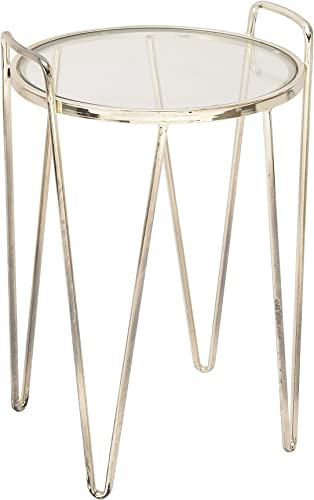 Deco 79 54733 Metal Glass Accent Table, 18 x 27 , Silver