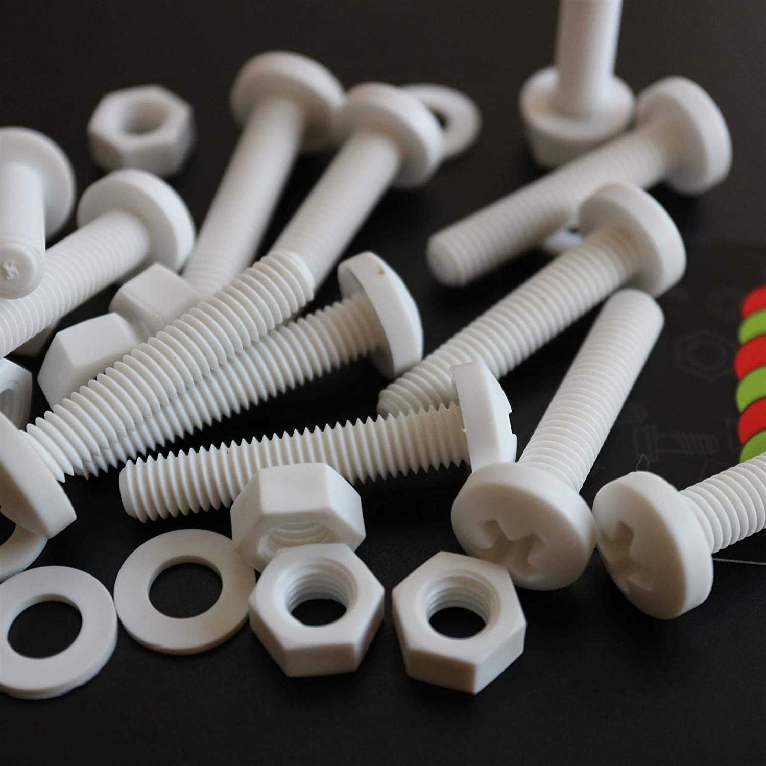 Plastic Nuts and Bolts Acrylic Chemical Resistant M8 x 40mm PP 20 x White Philips Pan Head Screws Polypropylene 5//16 x 1-37//64 Water Resistant Anti-Corrosion Washers