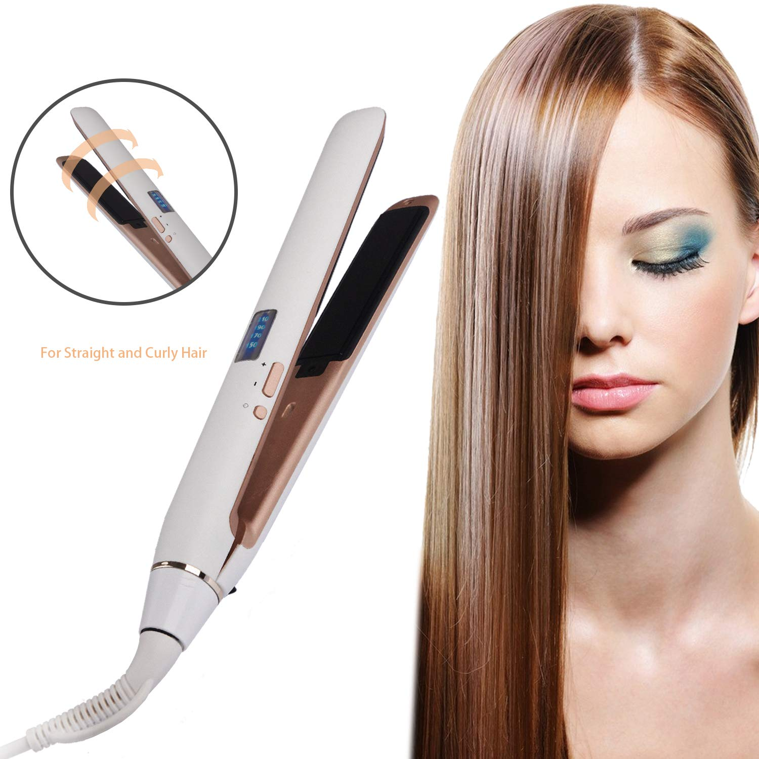 BESTBOMG Professional Ceramic Tourmaline Ionic Flat Iron Hair Straightener 110v-220v Worldwide Dual Voltage LED Display Adjustable Temperature Suitable for All Hair Types with Incl Glove Heats Up Fast