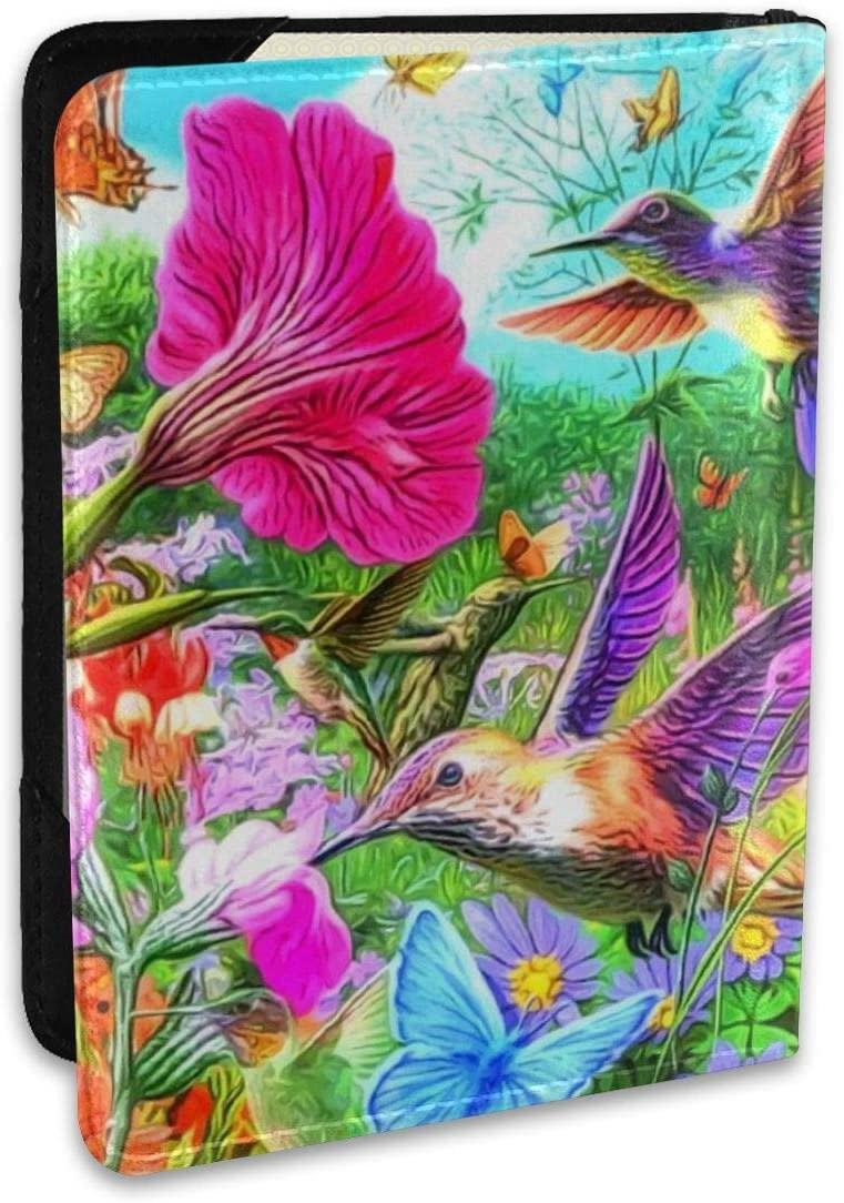 Hummingbird Floral Fashion Leather Passport Holder Cover Case Travel Wallet 6.5 In