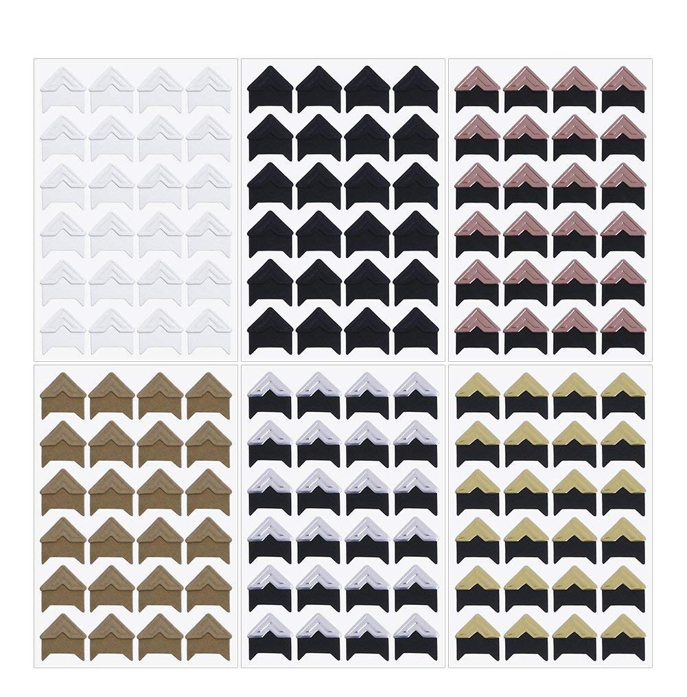 Penta Angel 12 Sheets 6 Colors Photo Corner Stickers Holder Protectors Self Adhesive Photo Mounting Corner Stickers Picture Corners for DIY Scrapbooking Photo Album Personal Journal Diary Adhesives