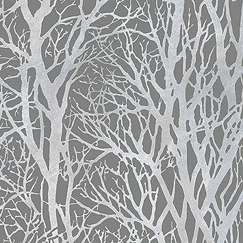 Arbre des Branches papier peint gris foncé et argent - CRÉATION ...