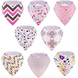 Baby Bibs, 8-Pack Kirecoo Bandana Drool Bibs Baby Girl Bibs for Drooling and Teething, 100% Organic Cotton and Super…