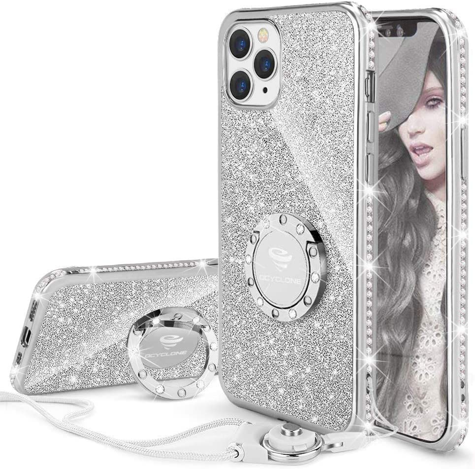 Plata OCYCLONE Funda para iPhone 12 Pro//iPhone 12 MAX Cristal Rhinestone Glitter Bling Brillante Diamante Protector Case con Soporte Ring Stand de Grados Carcasa para iPhone 12 Pro//MAX 6.1