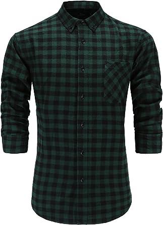 Tymhgt Mens Casual Slim Button Down Shirts Long Sleeve Plaid Shirts