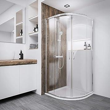 Duschkabine Oslo, 80 x 80 cm, 4 mm Sicherheitsglas transparent, chromoptik  glänzend, Runddusche Viertelkreis Dusche für Montage auf Duschwanne oder ...