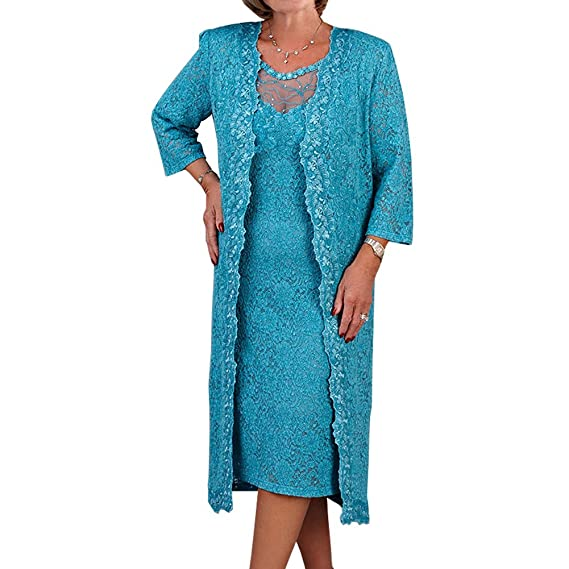 ShineGown Mother of The Bride Dresses 2 Piece Lace 3/4 Sleeves with Long  Jacket for Prom Plus Size