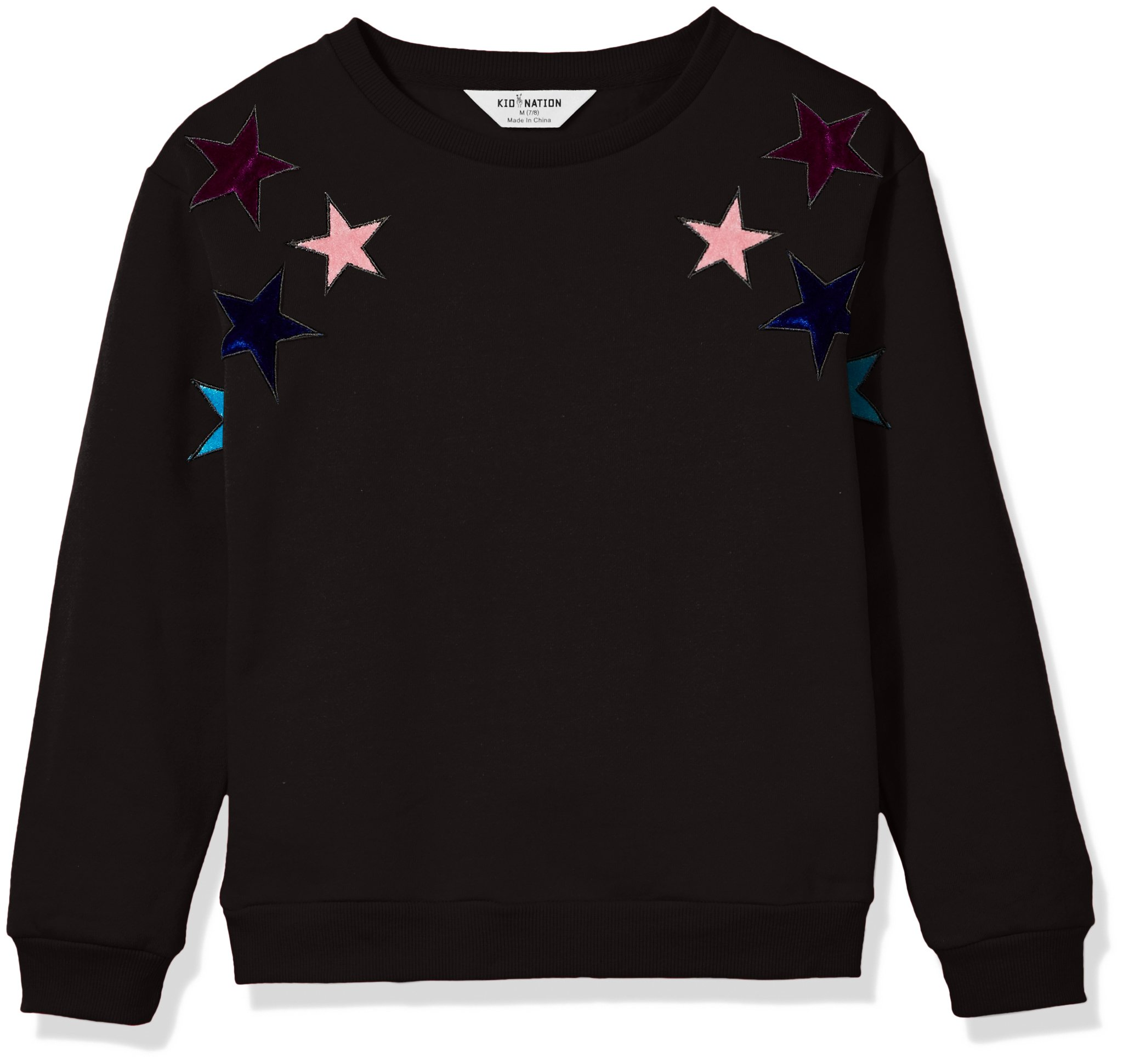 Kid Nation Kid's Velour Patch Sweatshirt for Boys and Girls XL Black ...