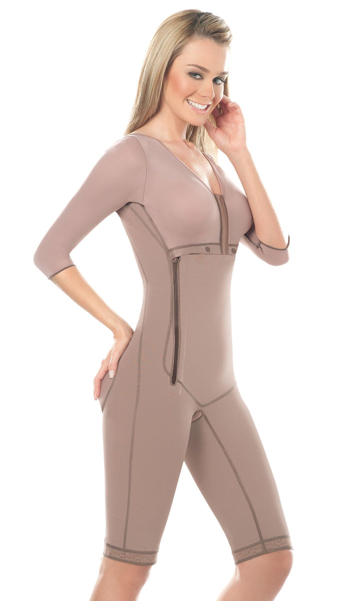 Fajas DPrada 008 Full Body Shaper Liposuction Compression Garments Post Surgery - Cocoa-Optic - 3XL