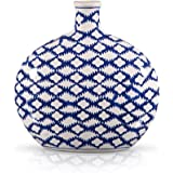 Porcelain Jar Ceramic Floor Flat Vase 10.5-Inch in Classic Blue and White Batik Pattern - Home Decor Accent for your Room, Temple or Store Display Decoration