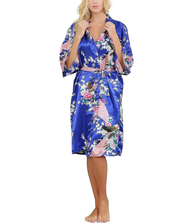 Damen Morgenmantel Kimono Kran und Pflaumendruck Satin Nachthemd Nachtwäsche Schlafanzug Robe Satin Kurze Robe Negligee Frauen Bademantel Sommer mit Gürtel Nachtwäsche & Bademäntel