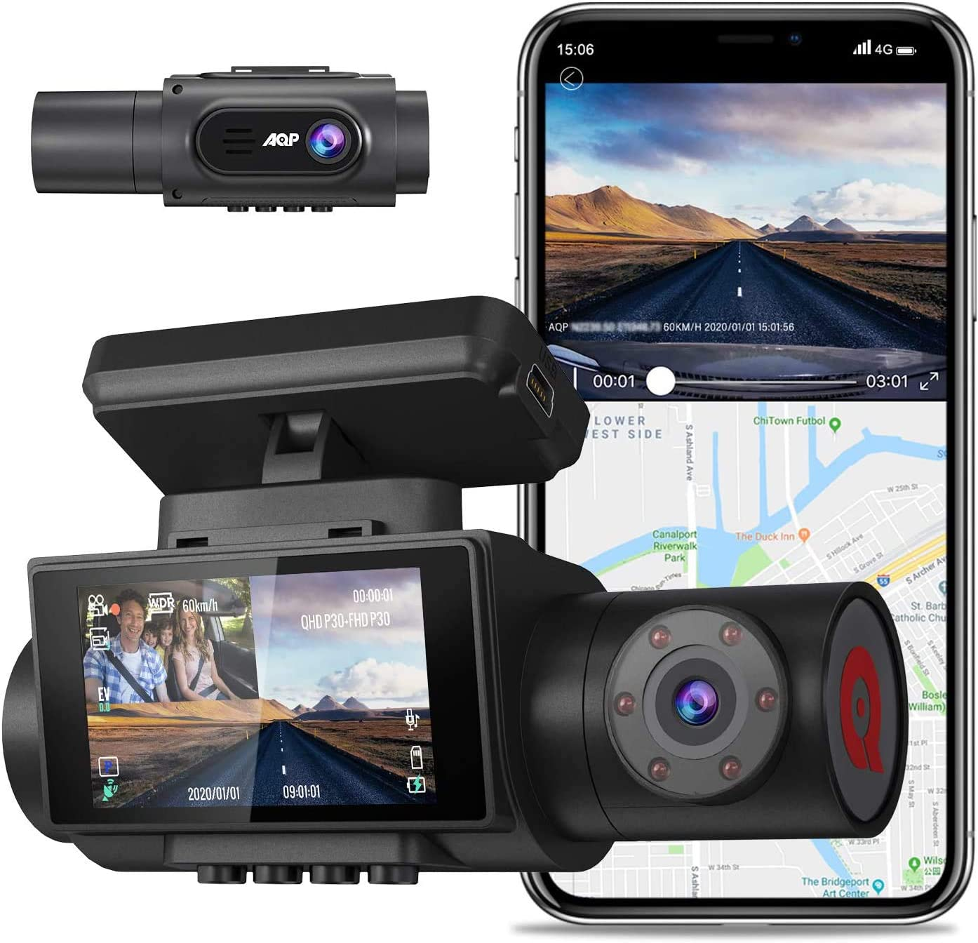 Amazon Com Aqp Dual Dash Cam 4k Single Front Camera 2560p Front And 1080p Inside Cabin Dash Camera With Wifi Gps Infrared Night Vision Support 128gb Dual Sony Sensor Parking Mode G Sensor