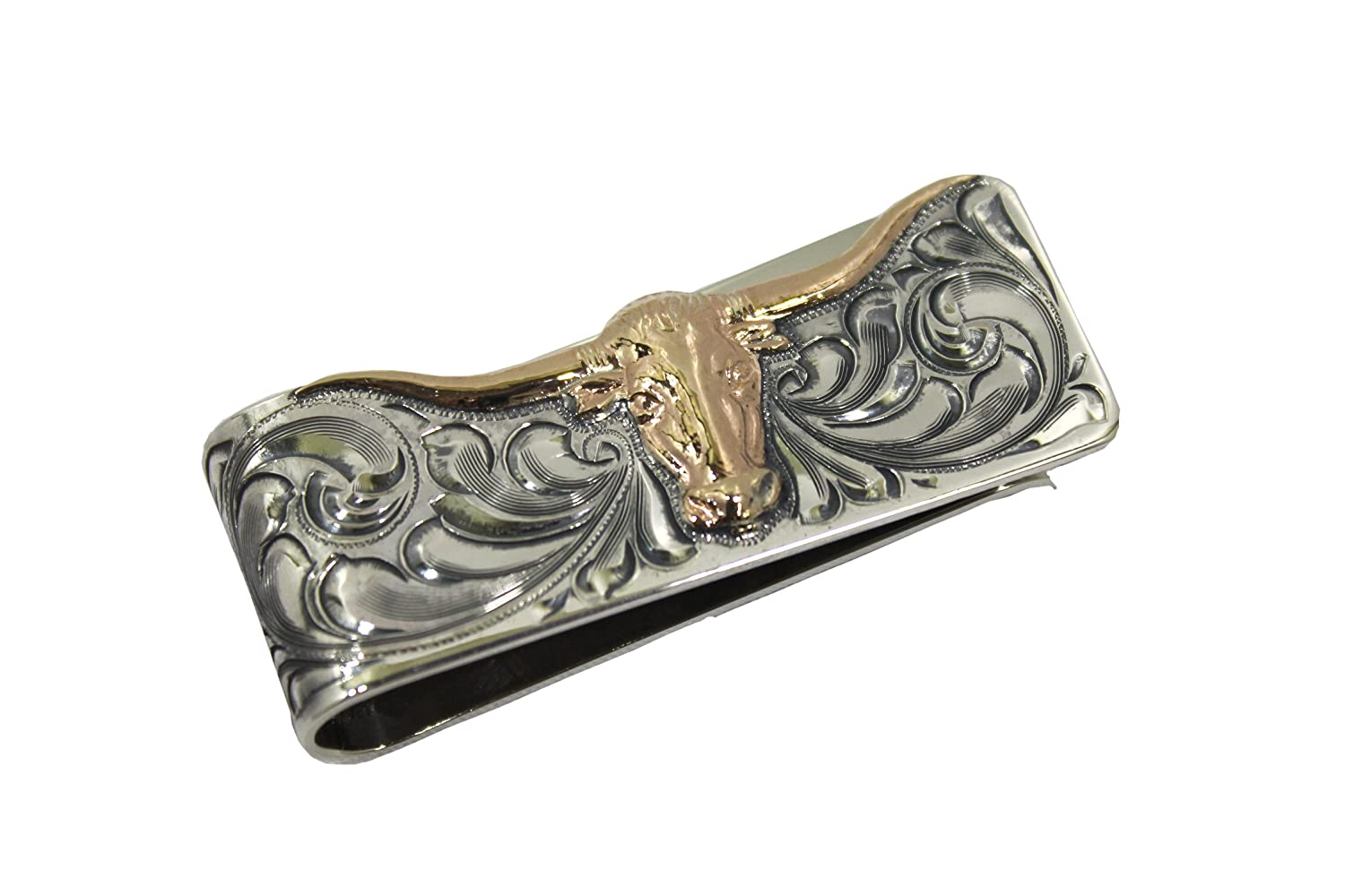 e310eceb0412 Engraved Western Money Clip with Silhouetted Longhorn at Amazon ...