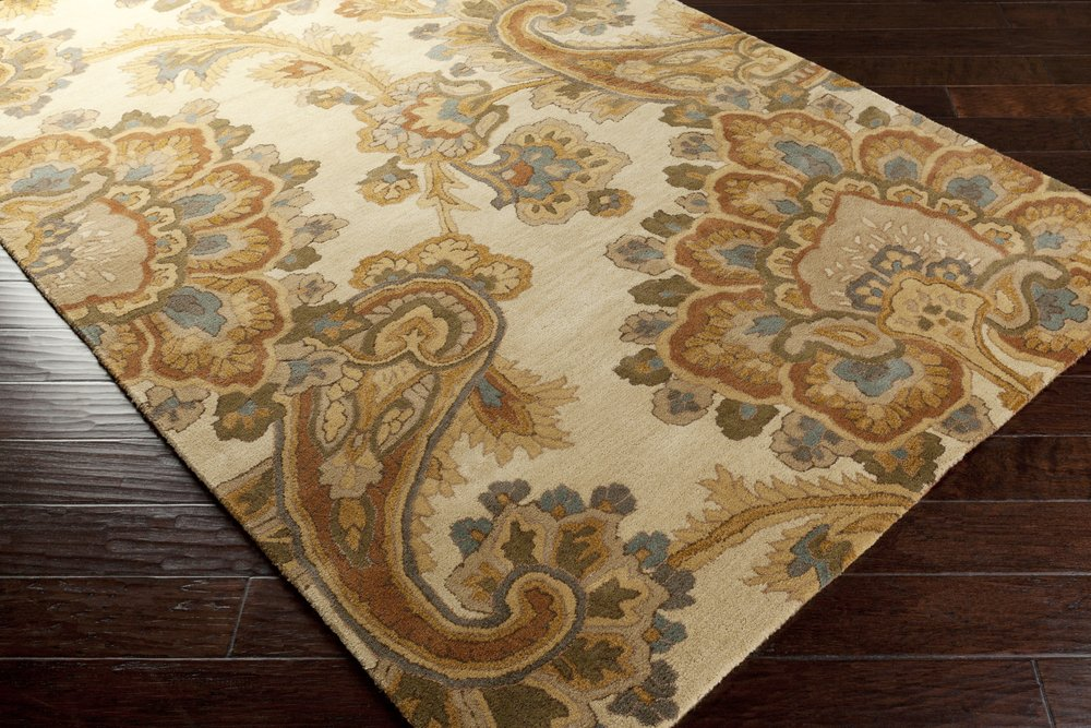 Surya Sea SEA-173 Classic Hand Tufted 100% New Zealand Wool Ivory 2'6'' x 8' Paisleys and Damasks Runner