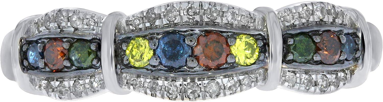 Prism Jewel 0.30 Carat Round Multi Color Diamond With Diamond Anniversary Ring