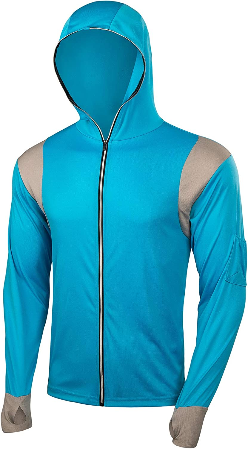 FitsT4 Men's Sun Protection UPF 40+ UV Outdoor Long Sleeve Quick Drying Mesh Fishing Shirts with Hood/Thumb Hole