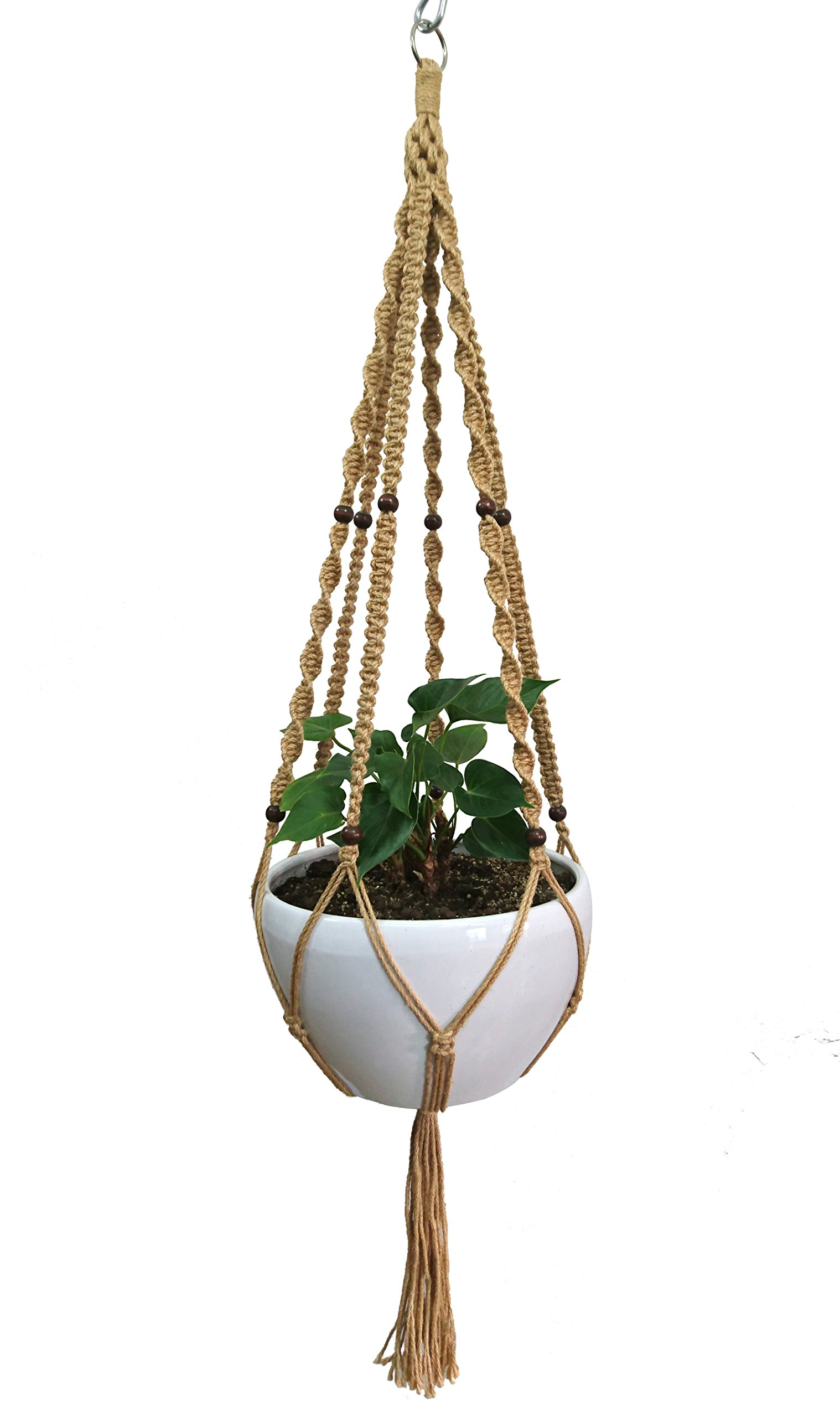 Plant Hanger Macrame Natural Hemp Rope Plant Hanger 6 Legs Plant Hanger 51 Inches For Indoor Outdoor, Living Room, Kitchen, Deck, Patio, High and Low Ceiling with size of 10-12 inches WITHOUT THE POT