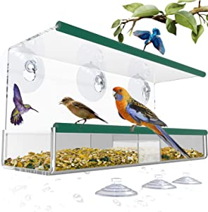 Bird Feeders for Outside, Window Bird Feeder with 3 Extra Strong Suction Cups and Seed Tray, Squirrel Proof Bird Feeders for Finch, Cardinal, Bluebird, Bird Feeder Large Outside Hanging Birdhouse Kits