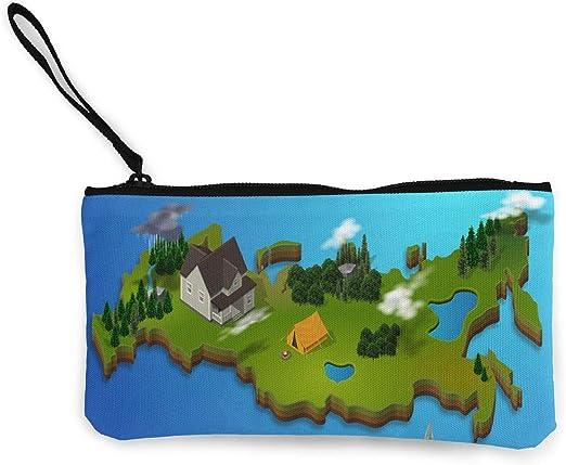 Wrution Map - Monedero de Viaje con diseño geométrico de Paisaje geométrico: Amazon.es: Hogar