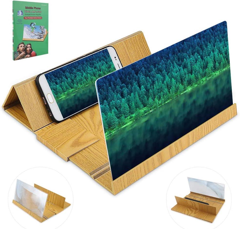 Lupa Movil Soporte para Tel/éfono de Madera 3D 14  Amplificador Pantalla Movil para Tel/éfono Inteligente HICOO Lupa de Pantalla