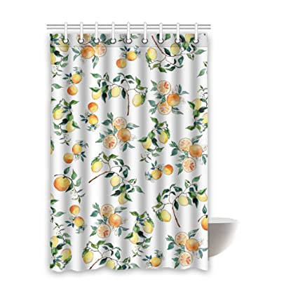 ABIsedrin Shower Curtain Lemon With HooksWaterproof Fabric Bathroom 48quot